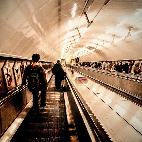 london underground escalator photo